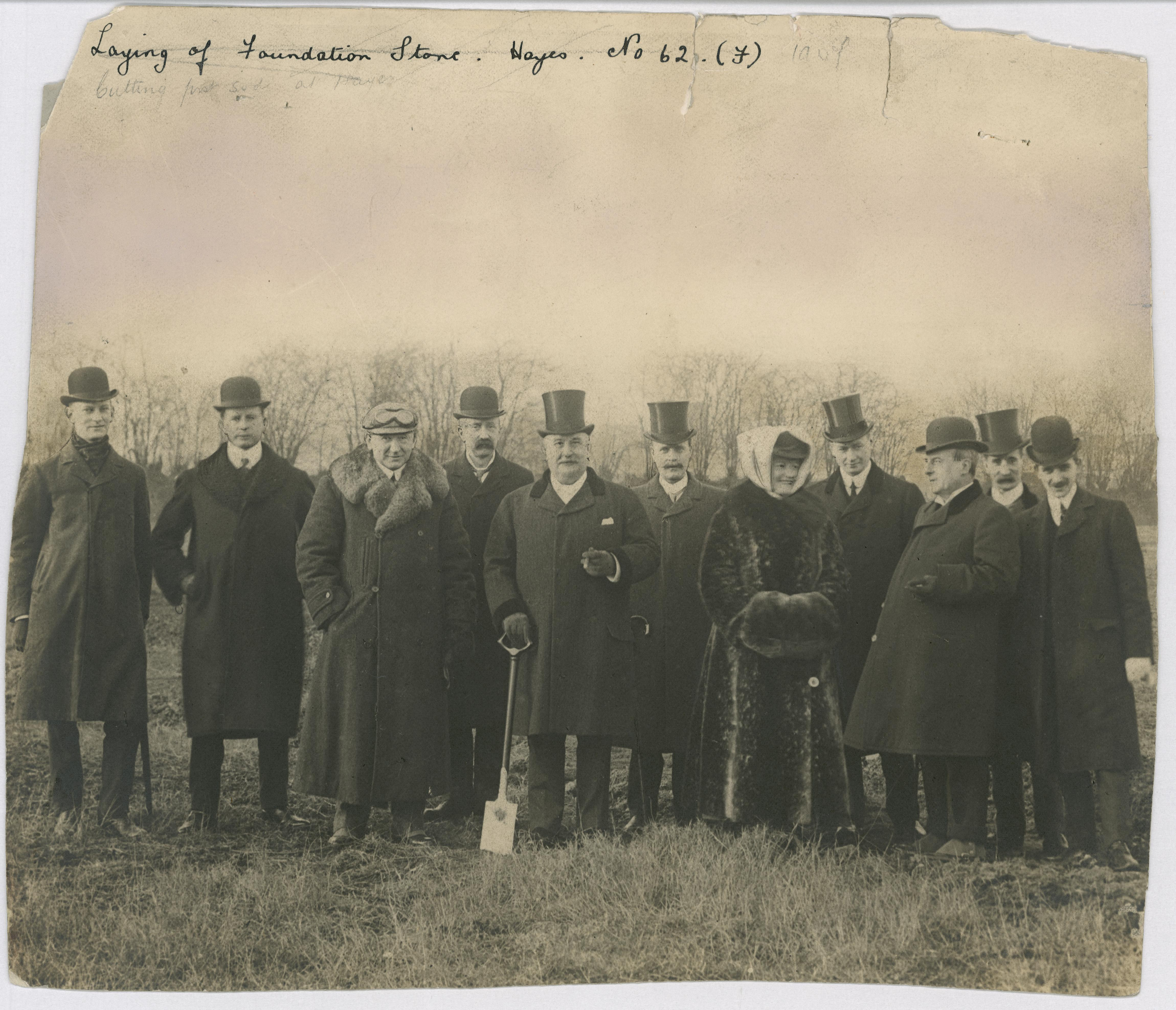 Edward Lloyd breaking the sod for the His Masters Voice Factory