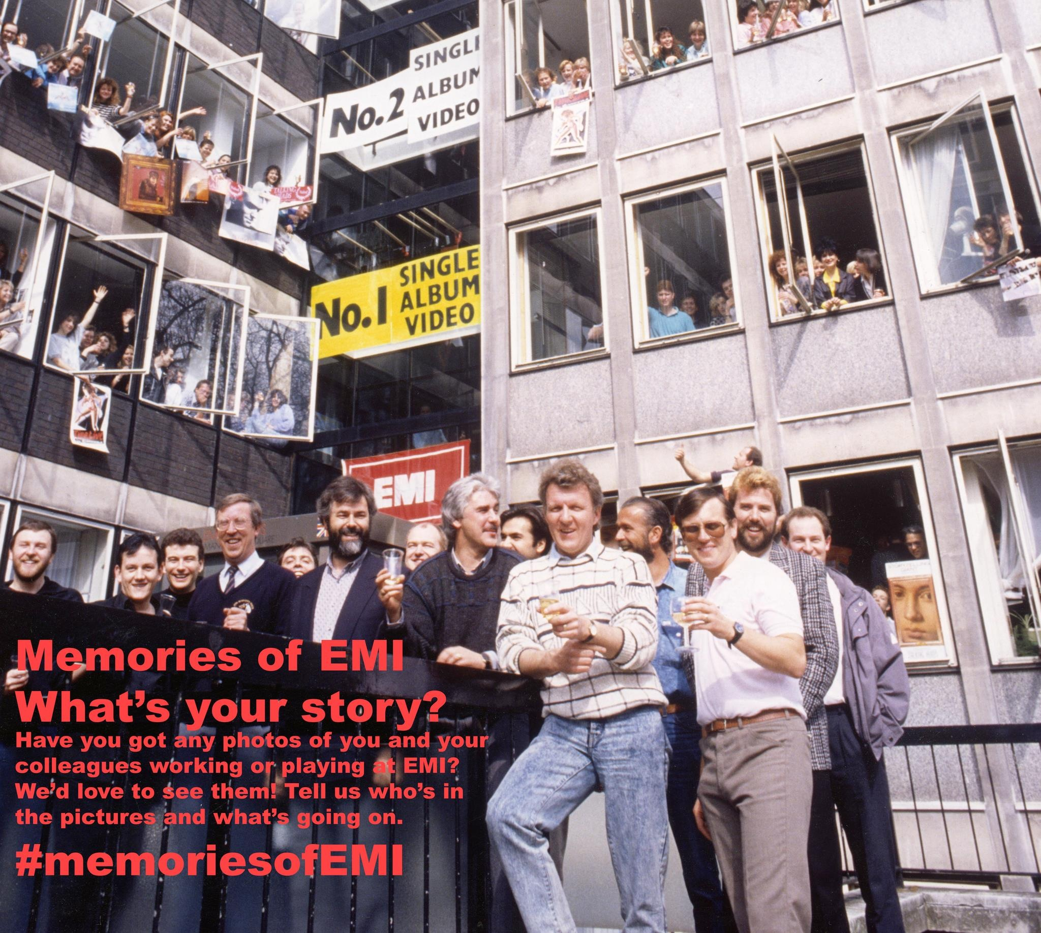 EMI Records celebrating No. 1 Single, No.1 Album and No. 1 Video Manchester Square 1987 Left to right - Malcolm Hill, Mike Andrews, Malcolm Anderson, Chips Chipperfield, Rupert Perry, Tony Wadsworth, Martin Haxby, Nick Gatfield, David Hughes, Andrew Prior Courtesy of the Rupert Perry Collection © EMI Group Archive Trust
