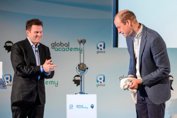 Prince William declared Global's Academy officially open and unveiled the original microphone that was commissioned by EMI for his great grandfather, King George VI. Photograph copyright Global.